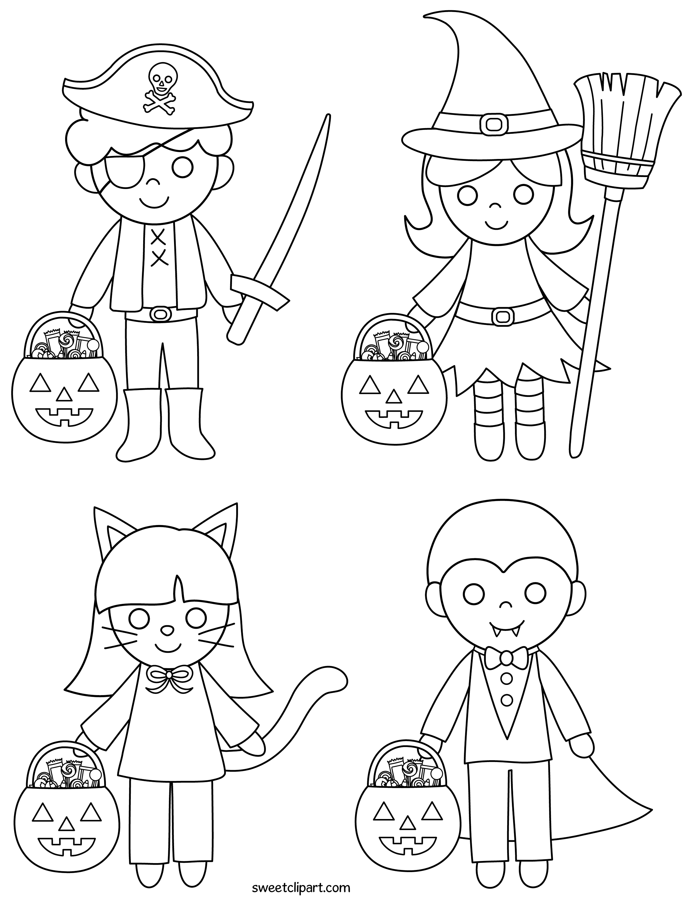 Halloween Kids Coloring Page - Free Clip Art