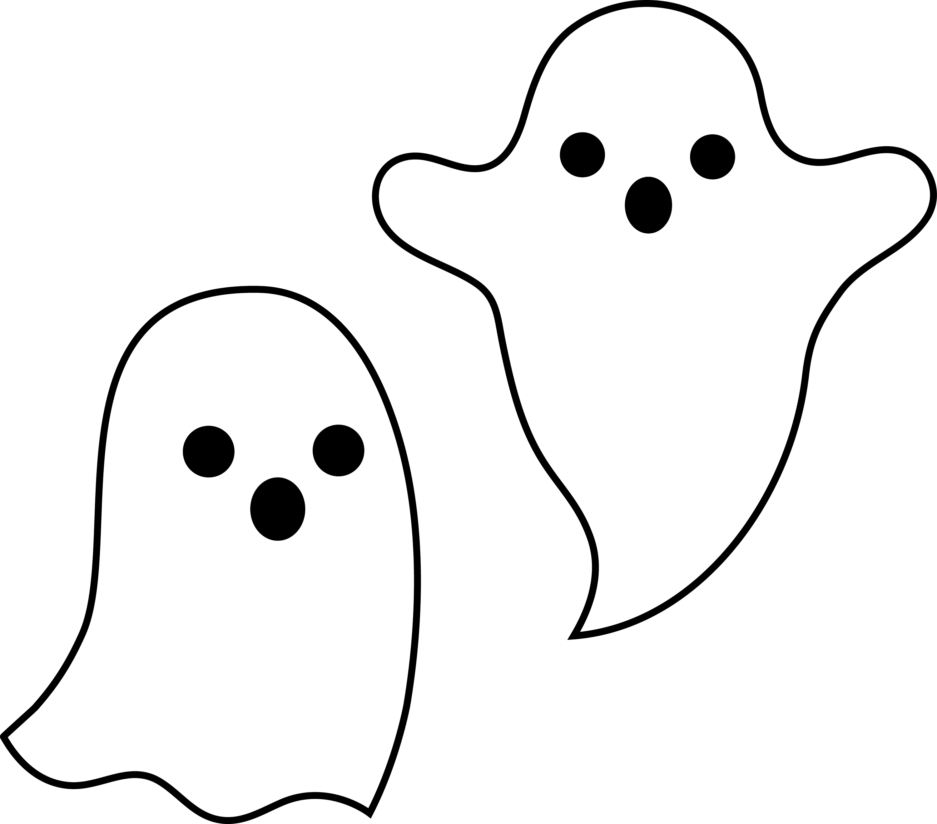 Simple Spooky Halloween Ghosts - Free Clip Art