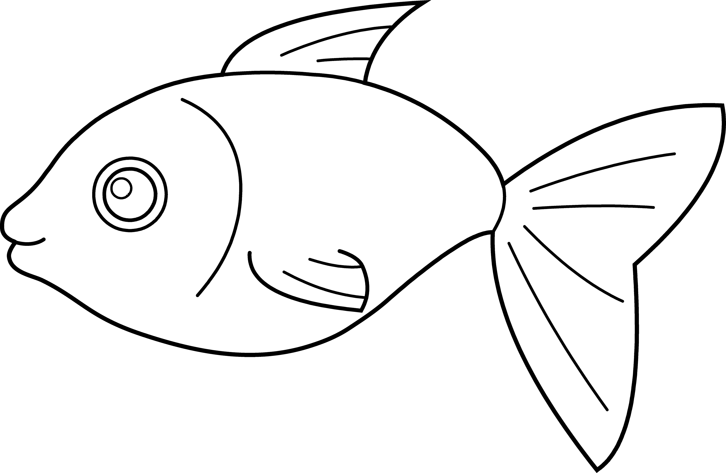 Simple Fish Line Art : Simple cartoon fish outline