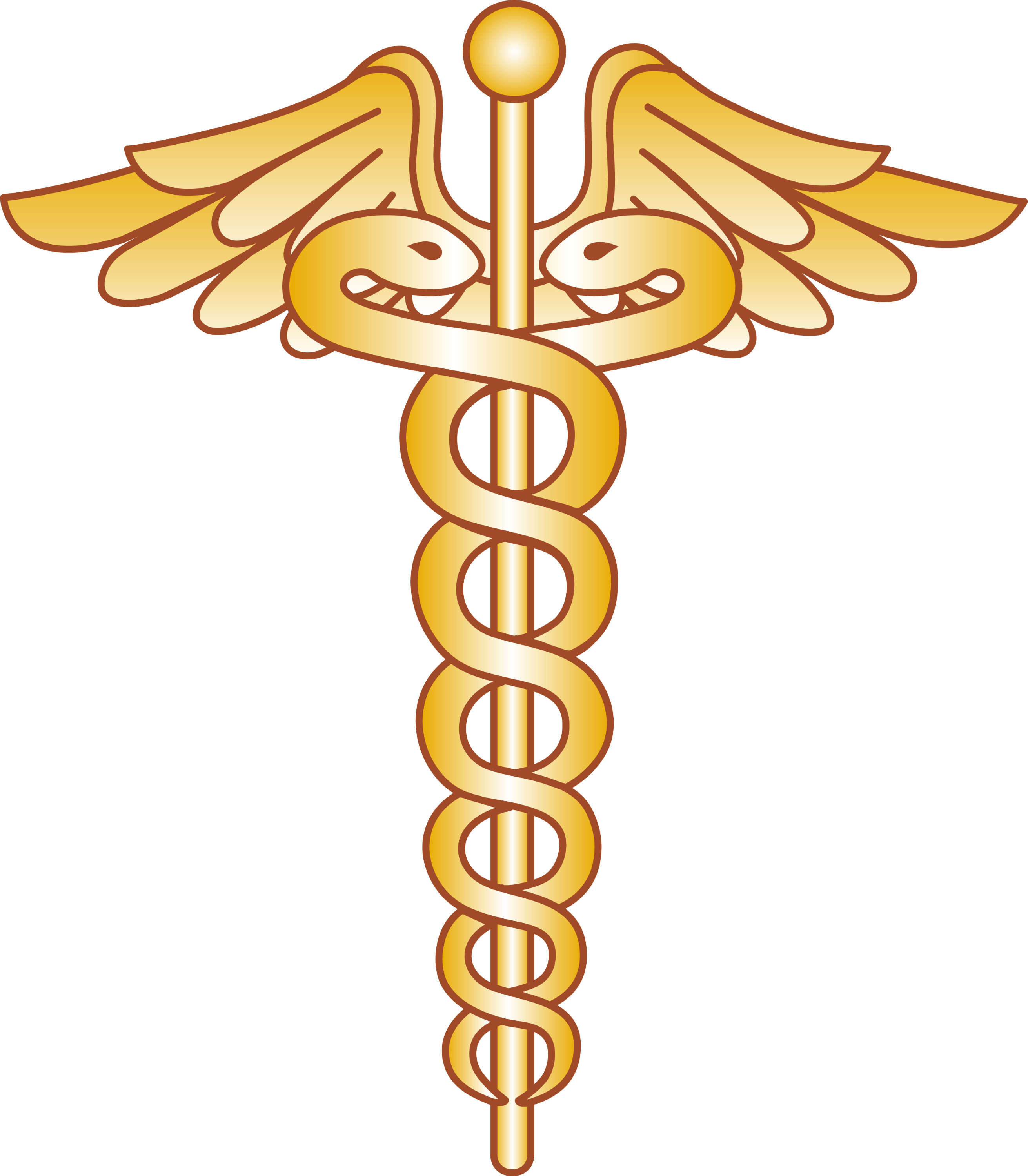 Golden Caduceus Logo Design - Free Clip Art