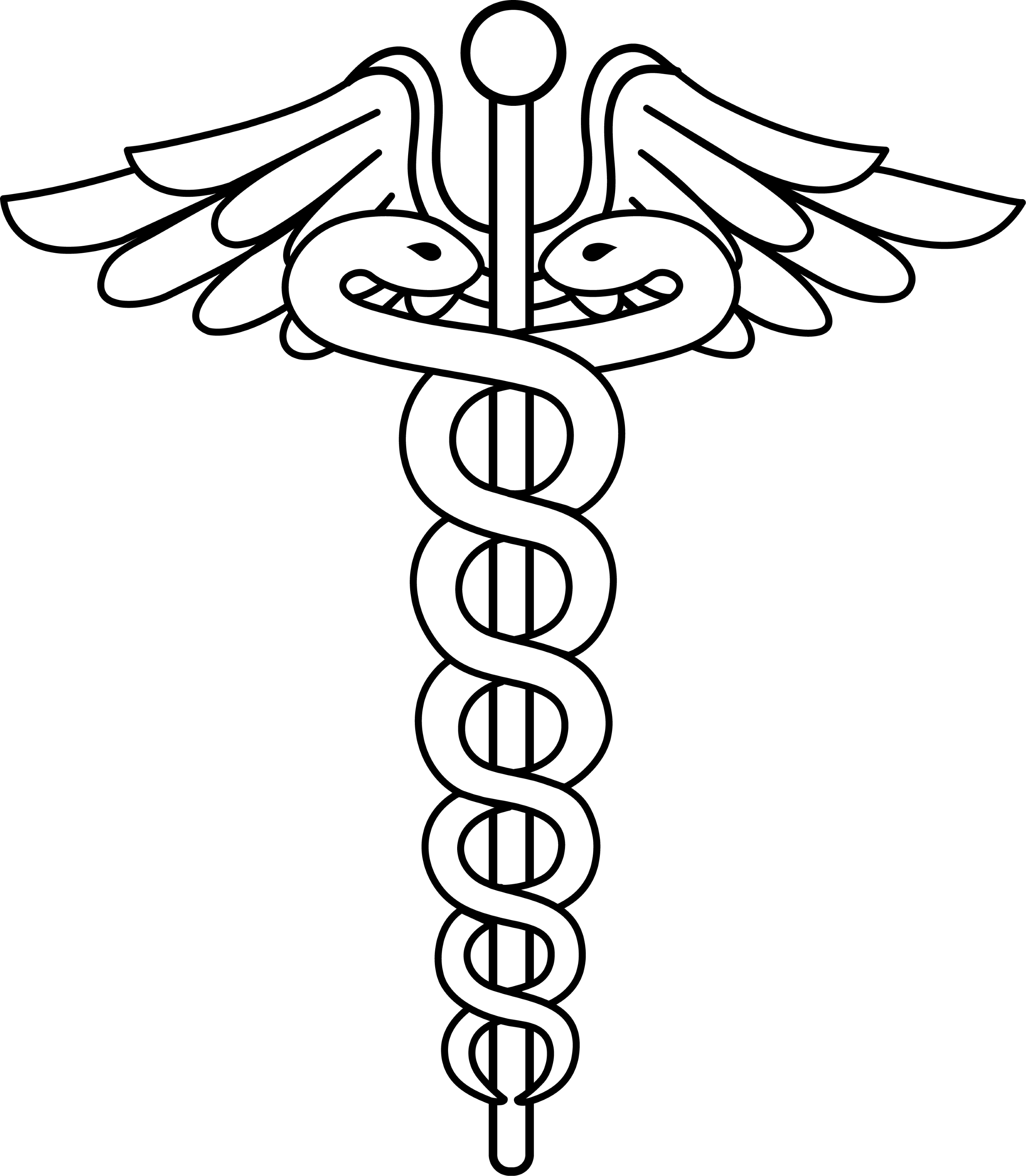 Black and White Line Art of Caduceus - Free Clip Art