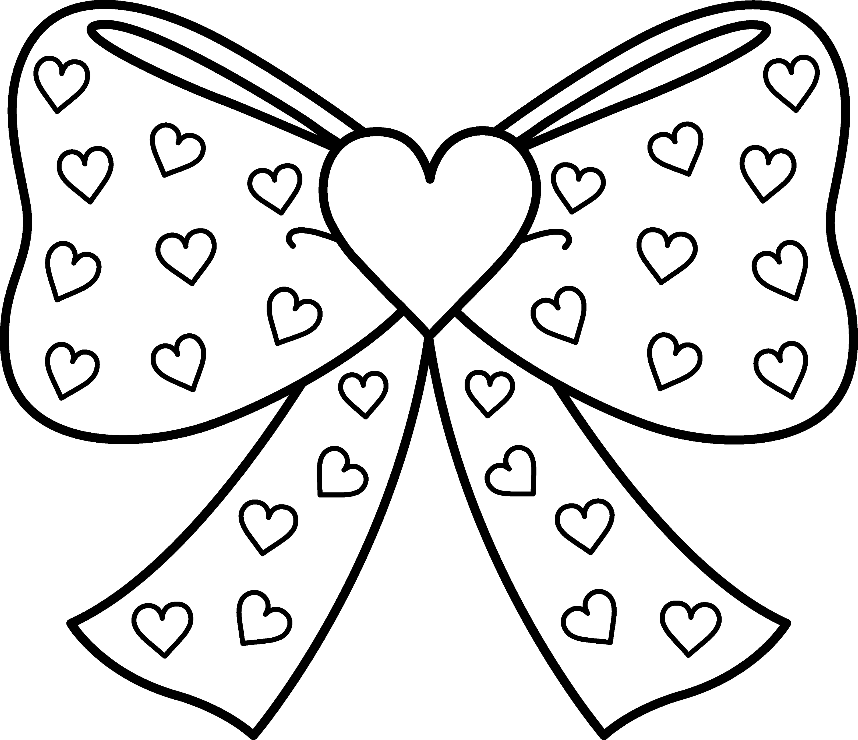Bow With Hearts Coloring Page