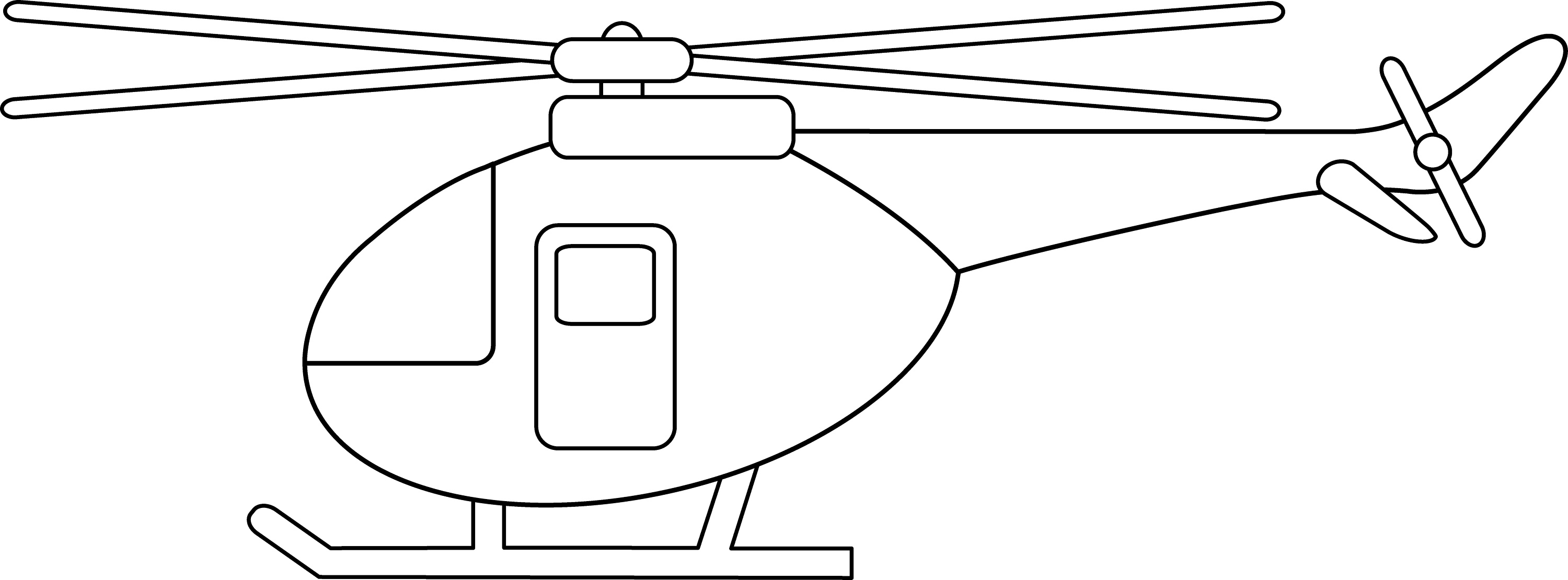 Line Drawing Helicopter : Colorable helicopter design free clip art