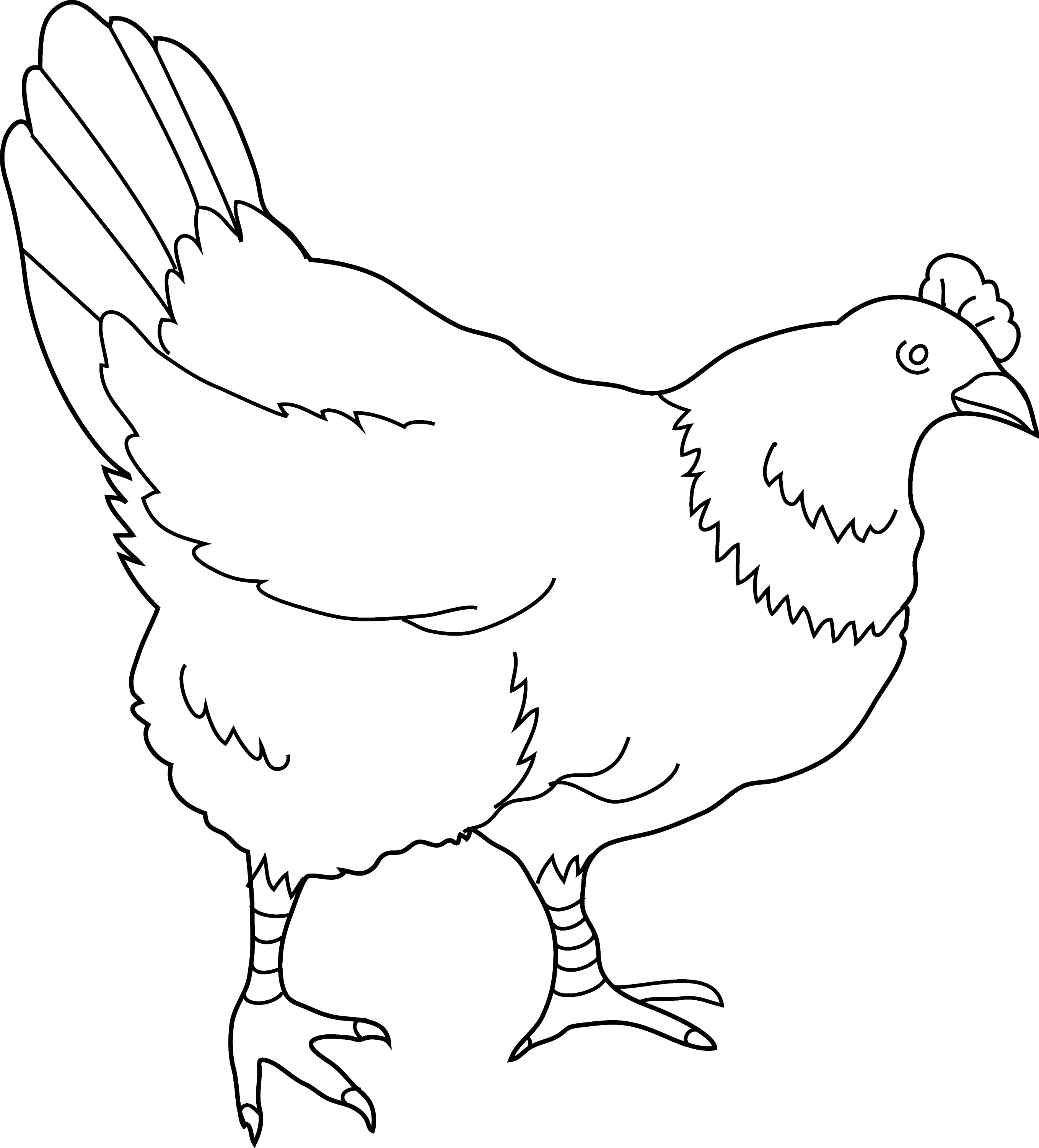 Hen Coloring Page 2 Free Clip