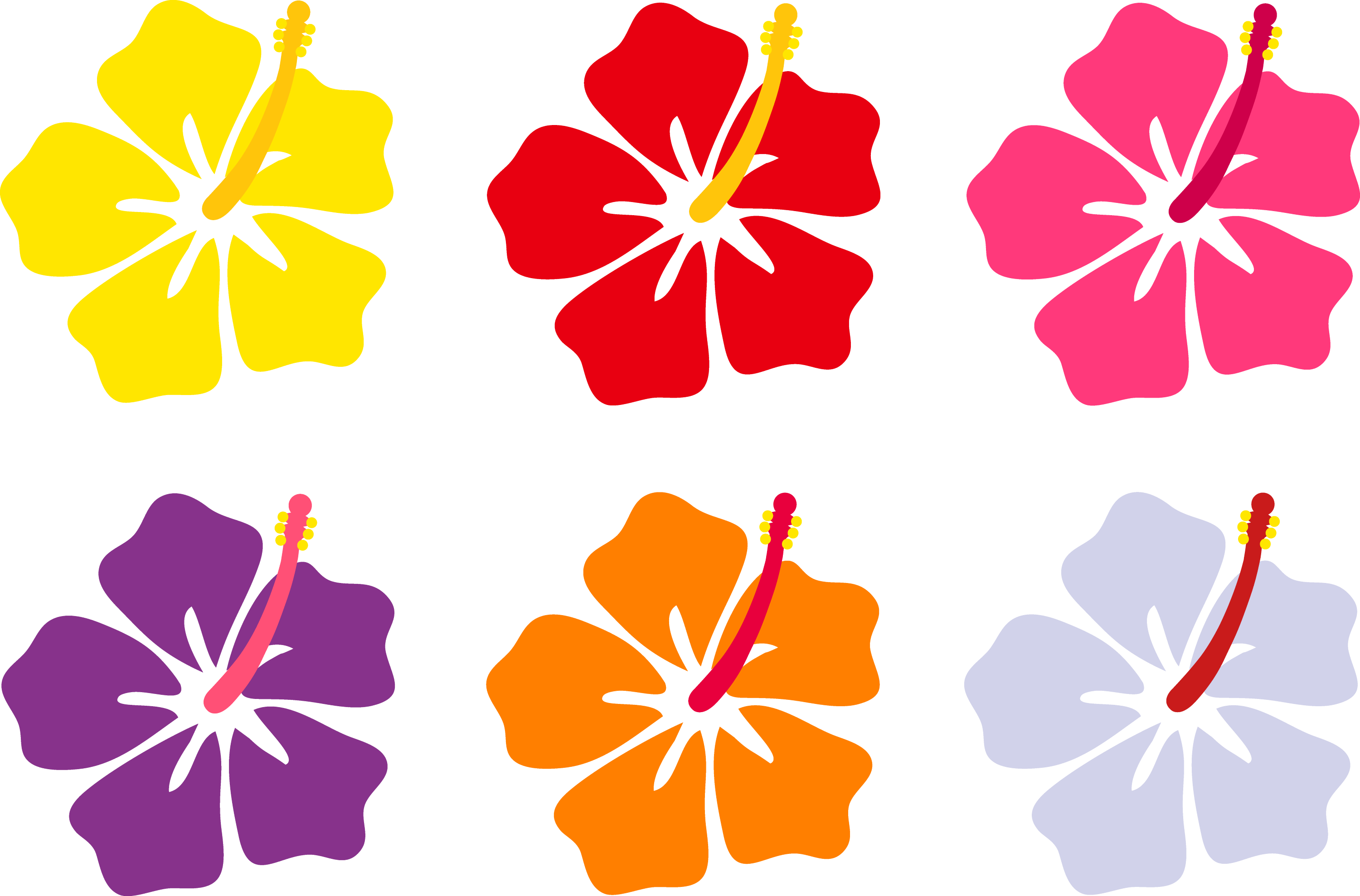 Hibiscus flowers in six colors free clip art colorful hibiscus flowers izmirmasajfo Gallery
