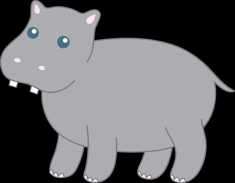Cute Hippopotamus - Free Clip Art