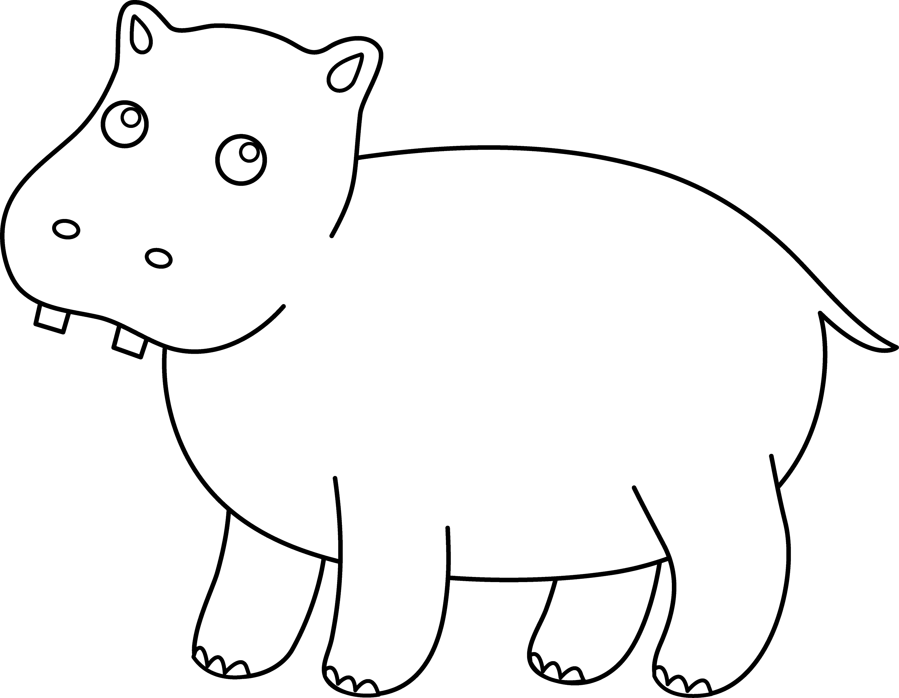 Line Art Hippo : Cute hippo coloring page free clip art