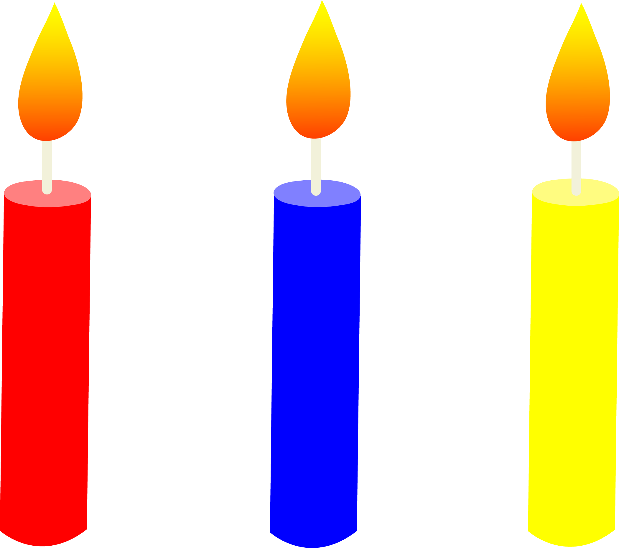 Clip Art Of Birthday Cake With Candles : Three Lit Birthday Cake Candles - Free Clip Art