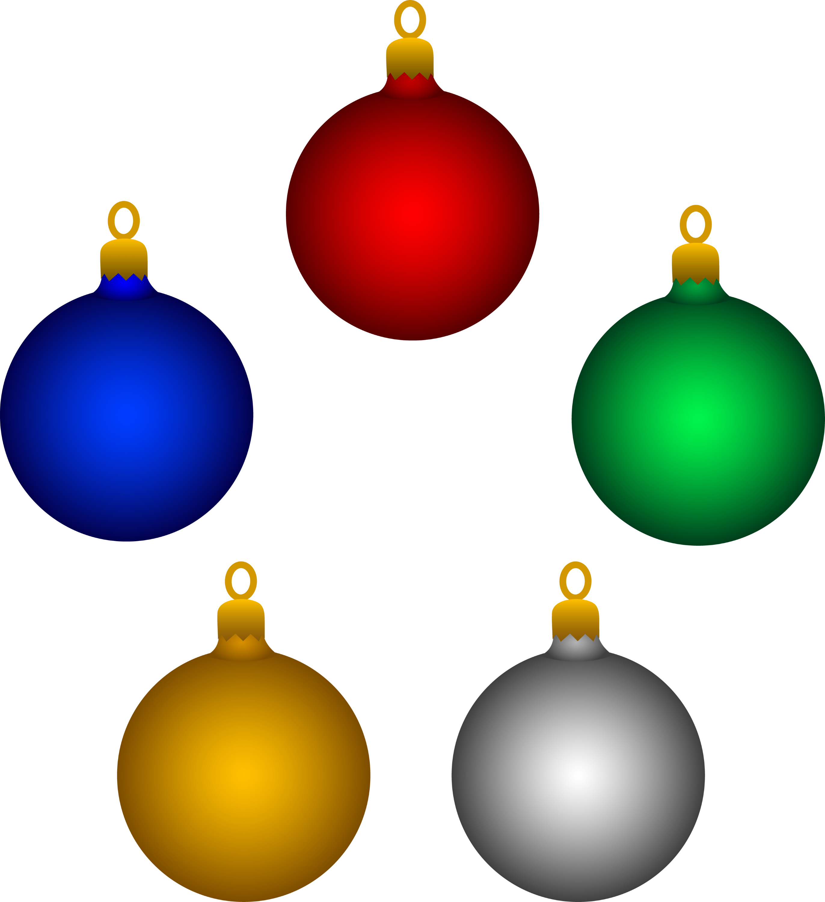 Christmas decorations clipart images - Set Of Five Colorful Holiday Ornaments