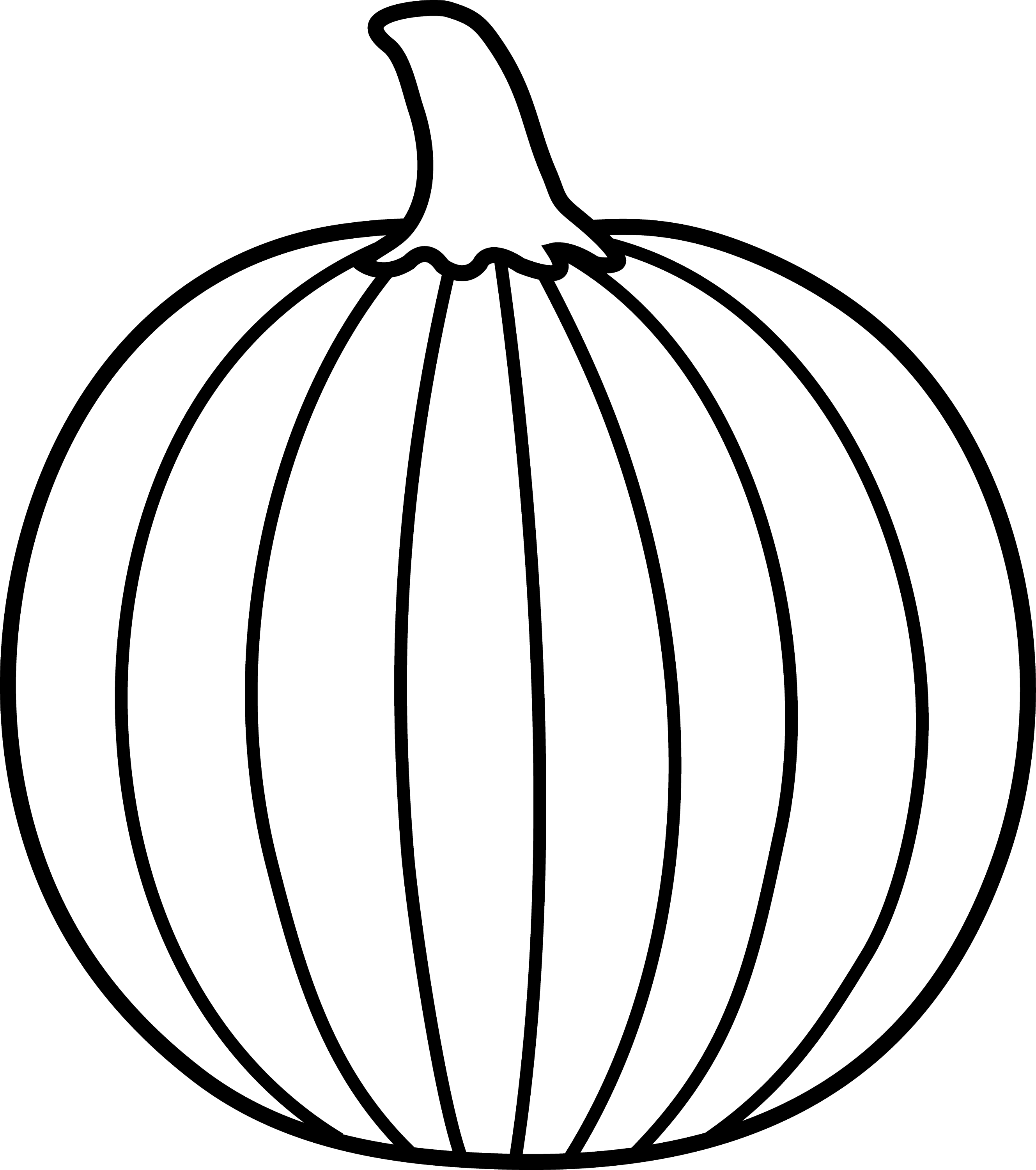 black and white pumpkin lineart free clip art