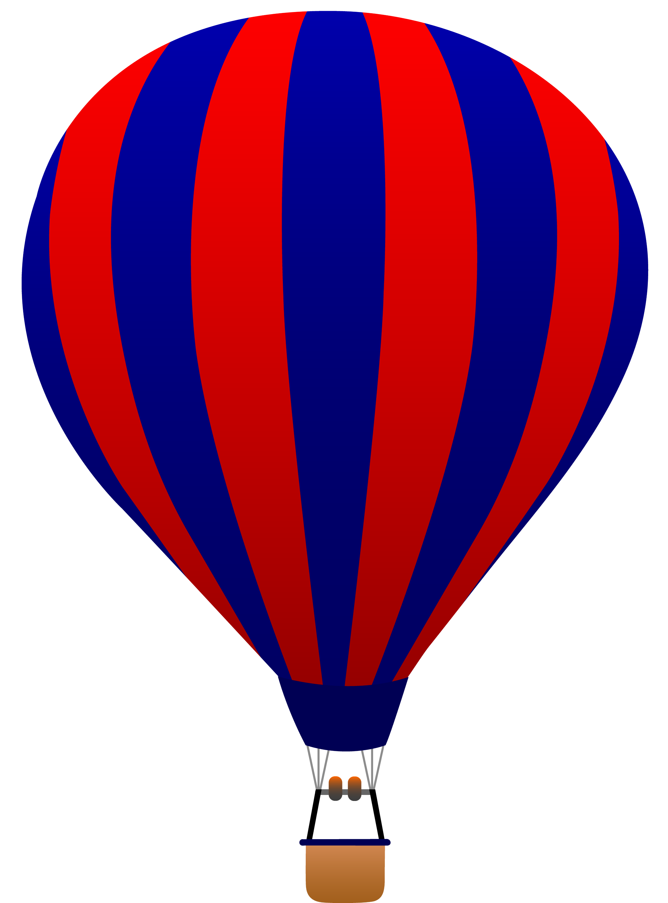 Red and Blue Striped Hot Air Balloon - Free Clip Art