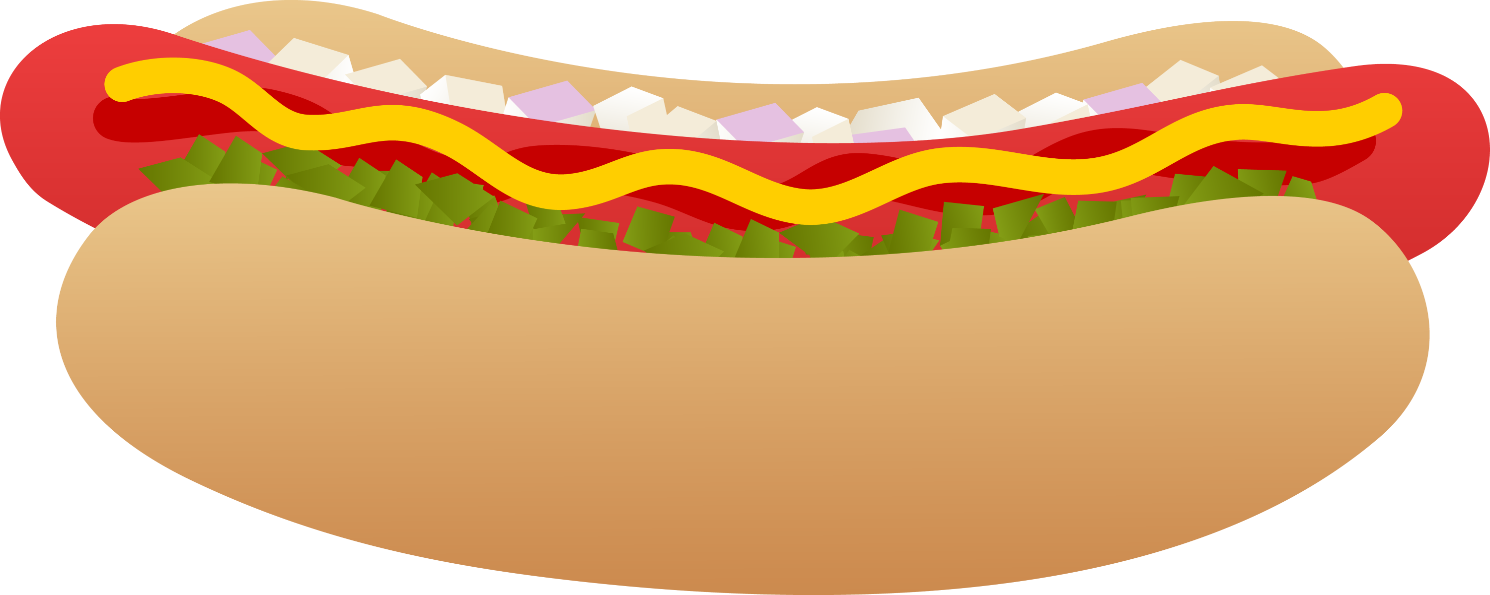 Hot Dog on a Bun - Free Clip Art