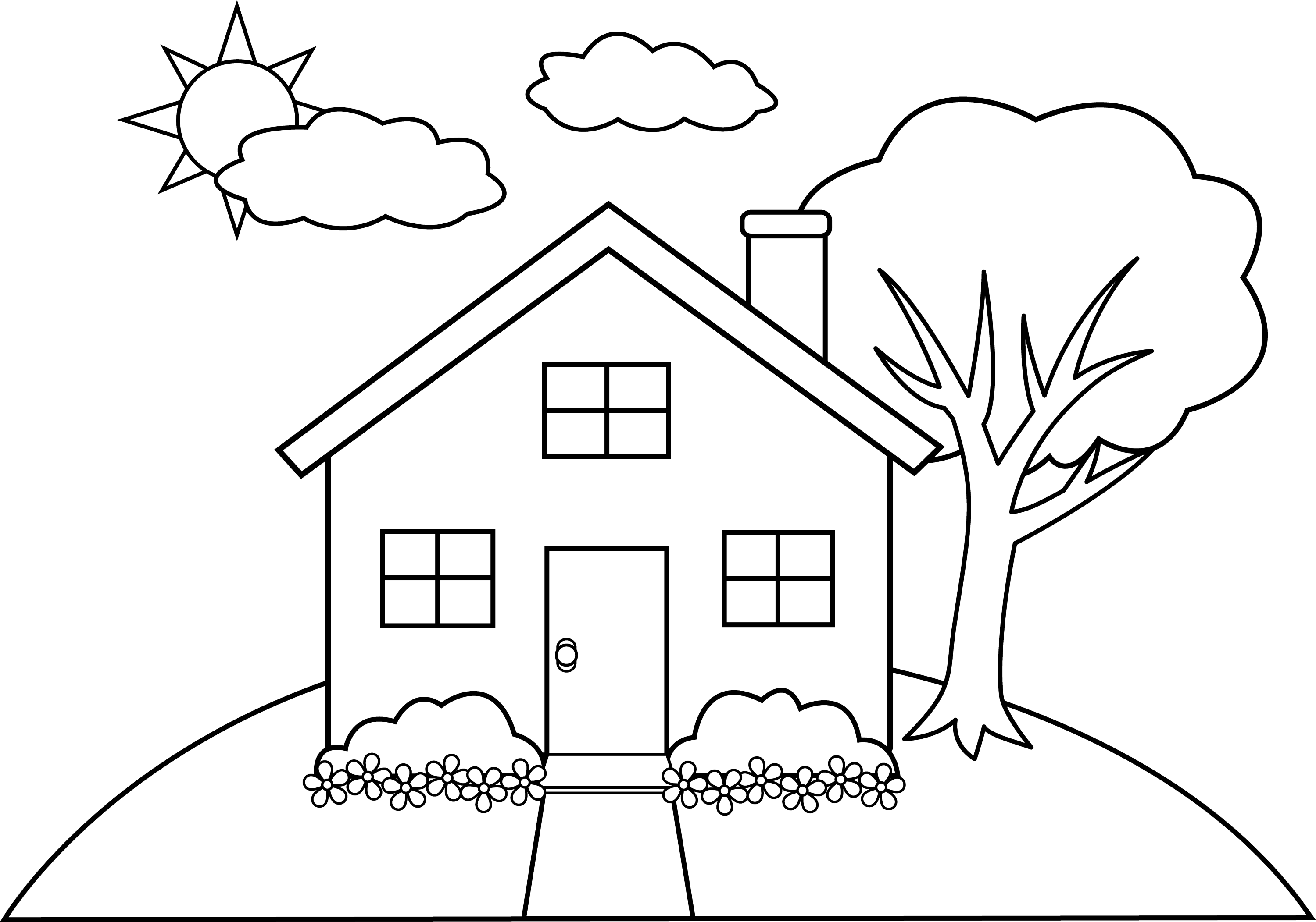 Line Art of a Little Hill House - Free Clip Art