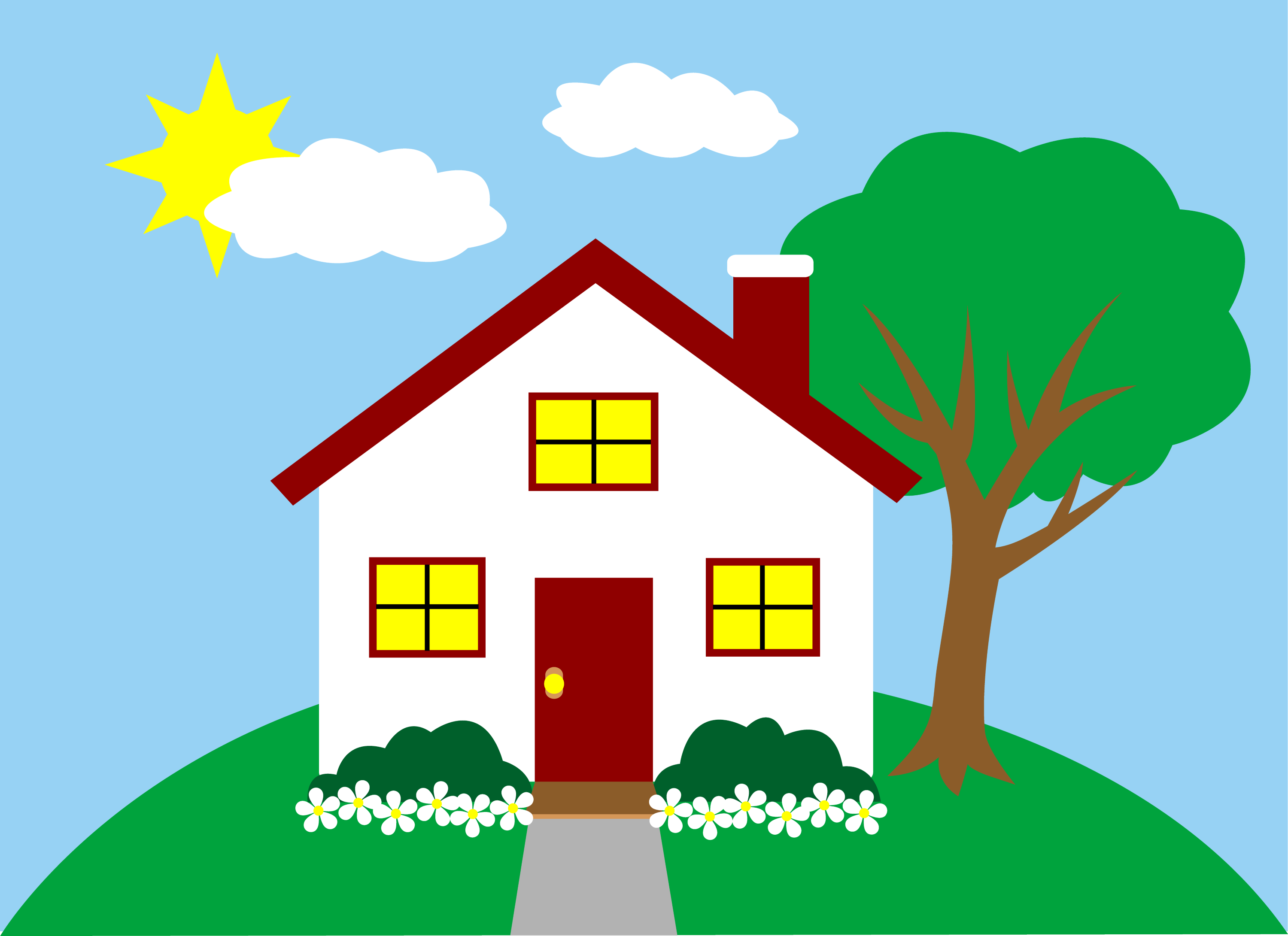Quaint little house on a hill free clip art for Wallpaper home cartoon