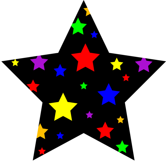 Black Star Patterned With Colored Stars