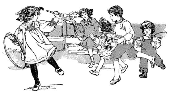 Primer Book Vintage Children Playing - Free Clip Art