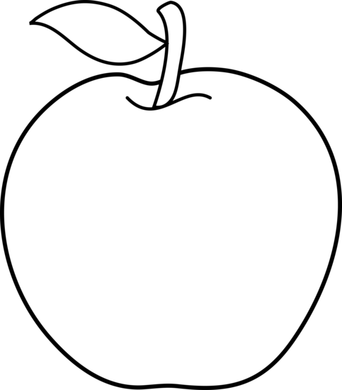 Line Drawing Apple : Colorable apple line art free clip