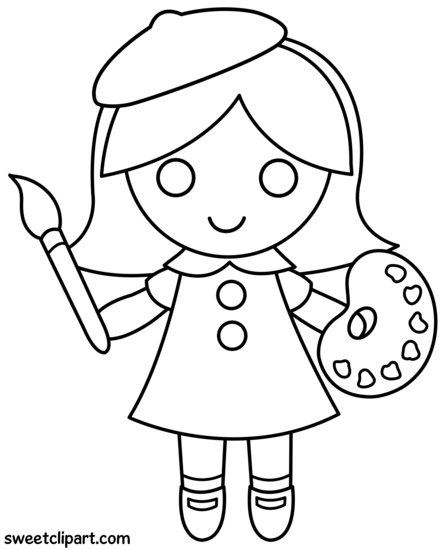 Little Artist Girl Coloring Page