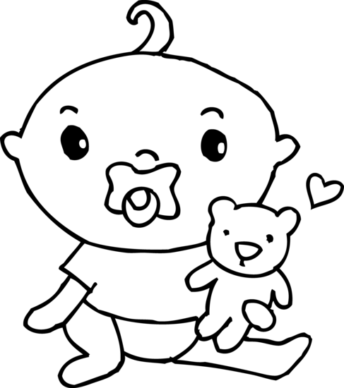 Cute Baby Boy Coloring Page - Free Clip Art