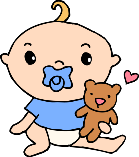 Baby Boy With Pacifier and Teddy