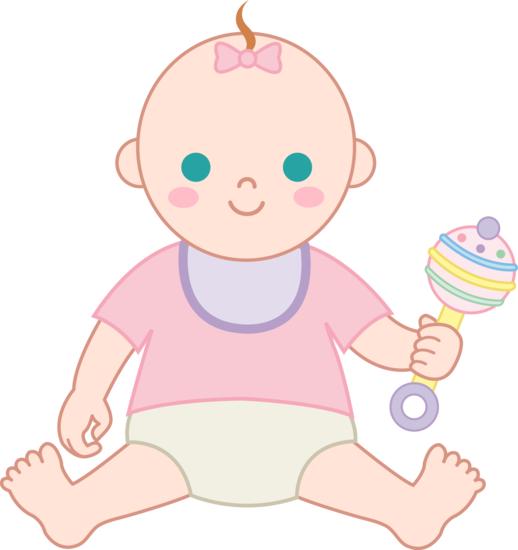 Baby Girl With Rattle - Free Clip Art