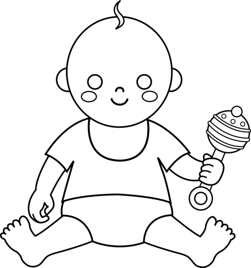 Sitting Baby Drawing Cute Baby For Coloring in