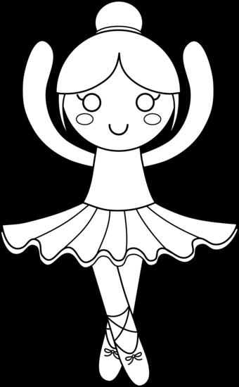 Cute Ballerina Coloring Page - Free Clip Art