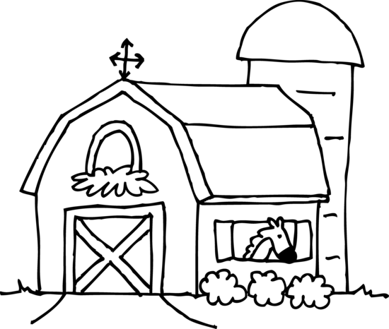 Cute Barn Coloring Page Free Clip Art