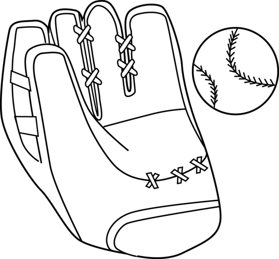 Baseball Mitt and Ball Coloring Page