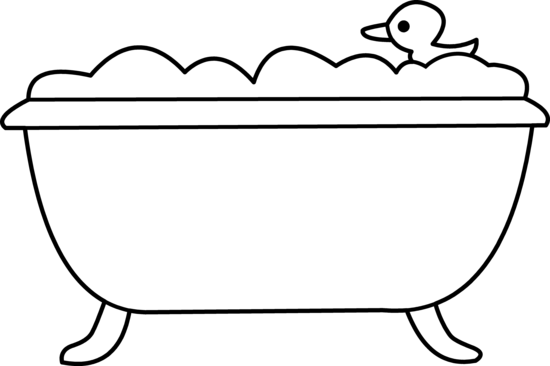 Bath Tub and Rubber Ducky Line Art - Free Clip Art