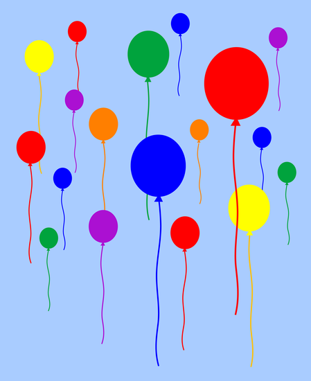 Birthday Party Balloons in Blue Sky