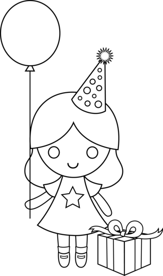 Birthday Girl Coloring Page Free Clip Art