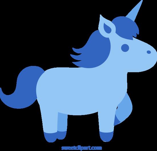 Cute Blue Unicorn Clip Art