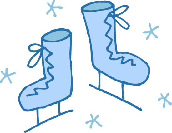 Cute Blue Ice Skates Clip Art