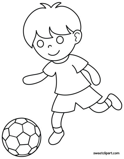 jesus playing sports coloring pages | Boy Playing Soccer Coloring Page - Free Clip Art