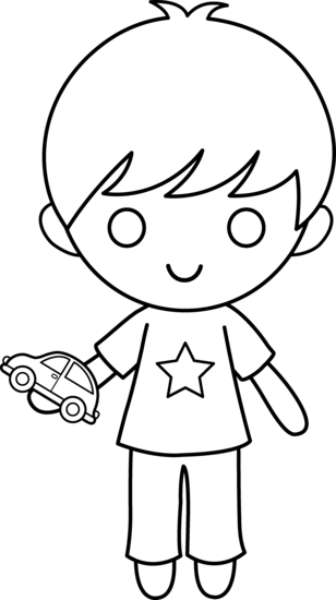 Boy With Toy Car Coloring Page - Free Clip Art