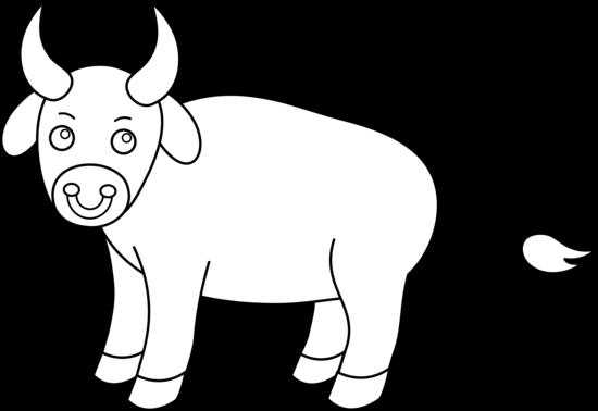 Cute Bull Line Art - Free Clip Art