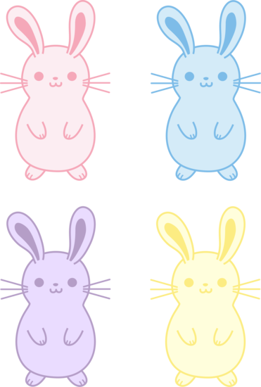 Four Colorful Easter Bunnies