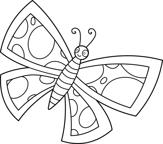 Colorable Spotted Butterfly Design Free Clip Art