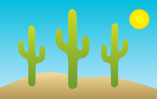 Desert Landscape With Cactuses
