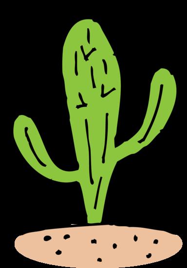 Clip Art of Cactus in Desert