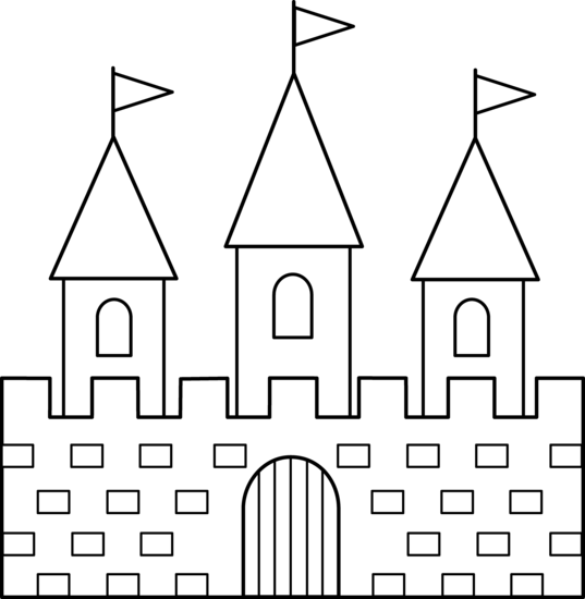 simple castle coloring pages - colorable castle line art free clip art