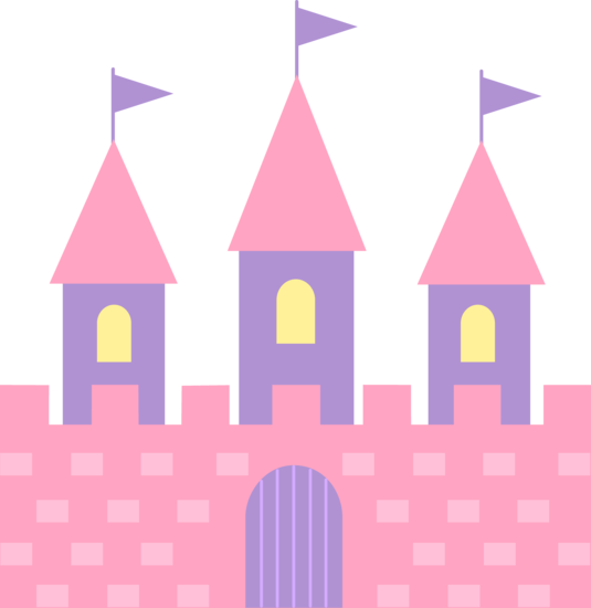 Cute Pink Princess Castle - Free Clip Art