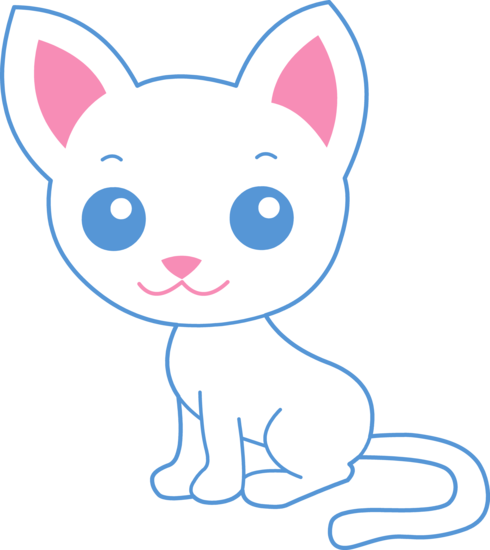 Cute White Kitty Cat - Free Clip Art