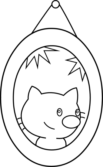 Cute Cat Portrait Coloring Page