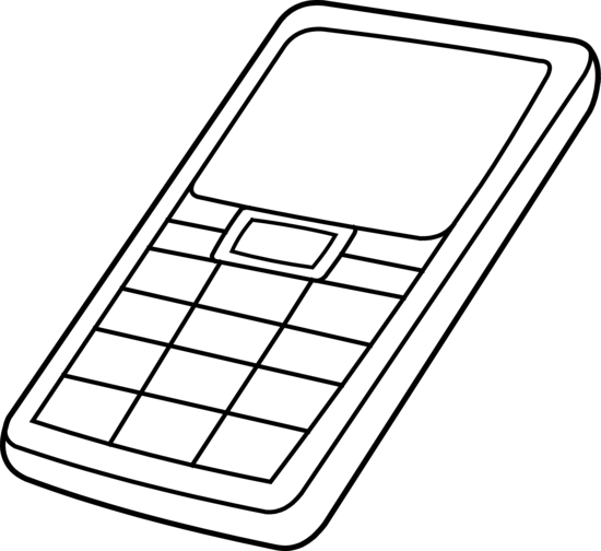 Cell Phone Colorable Outline - Free Clip Art
