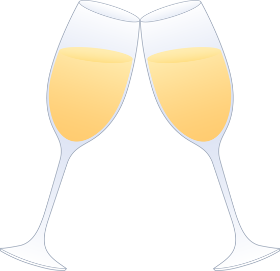 Glasses of Champagne Clinking - Free Clip Art