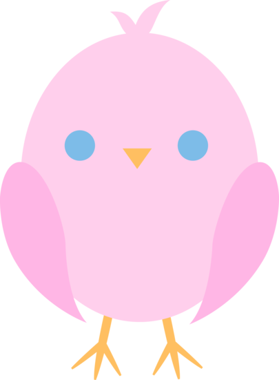 Cute Pink Easter Chick Free Clip Art