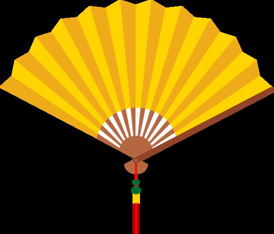 Cooling Fan Clip Art : Yellow chinese hand fan free clip art