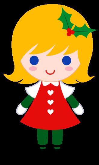 Little Christmas Girl Clip Art